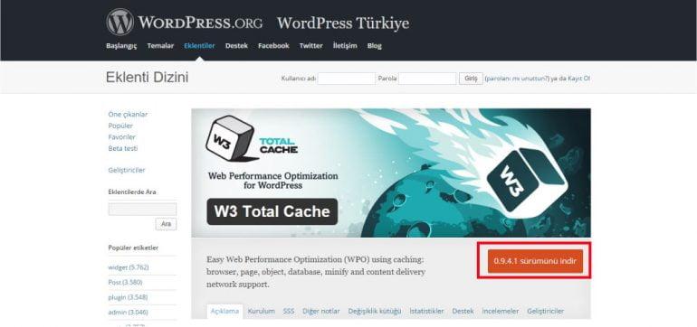 w3 total cache ayarları