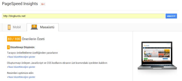 W3TC Eklentisini kurmadan önce Blog Kurdu'nun Google PageSpeed Insights sonucu