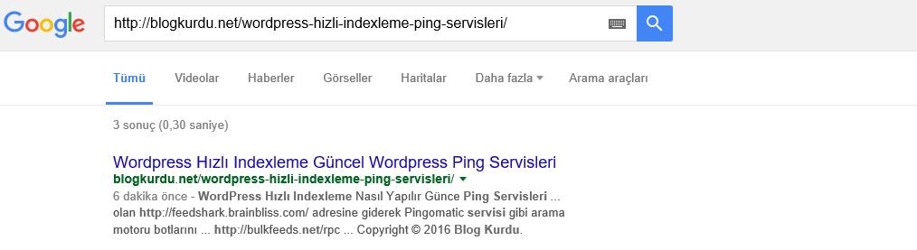 Wordpress hızlı indexleme WordPress güncel ping servisleri