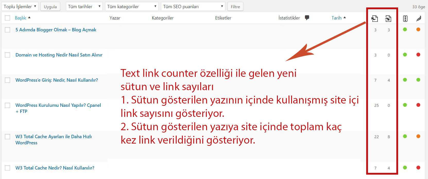 Yoast text link counter özelliği
