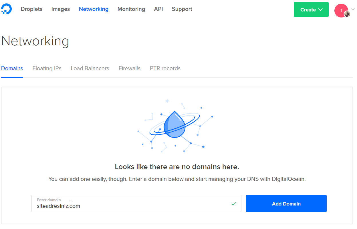 Digitalocean domain ekleme
