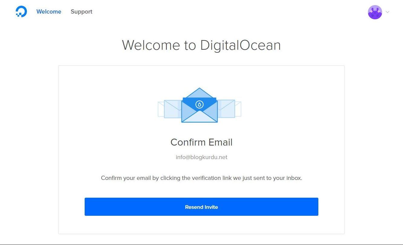 Digitalocean eposta onaylayın sayfası