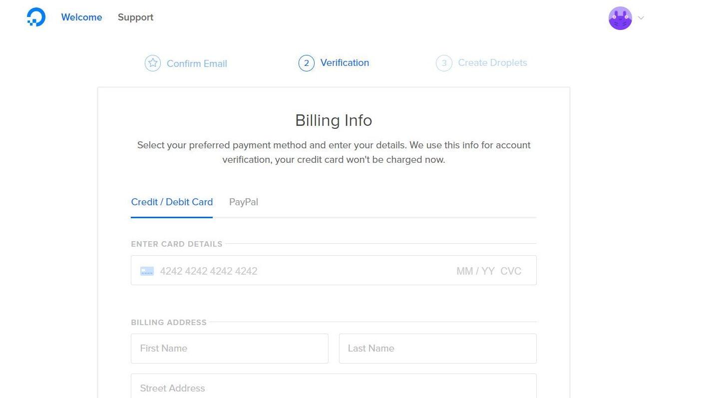 Digitalocean kredi kartı bilgileri girin ekranı