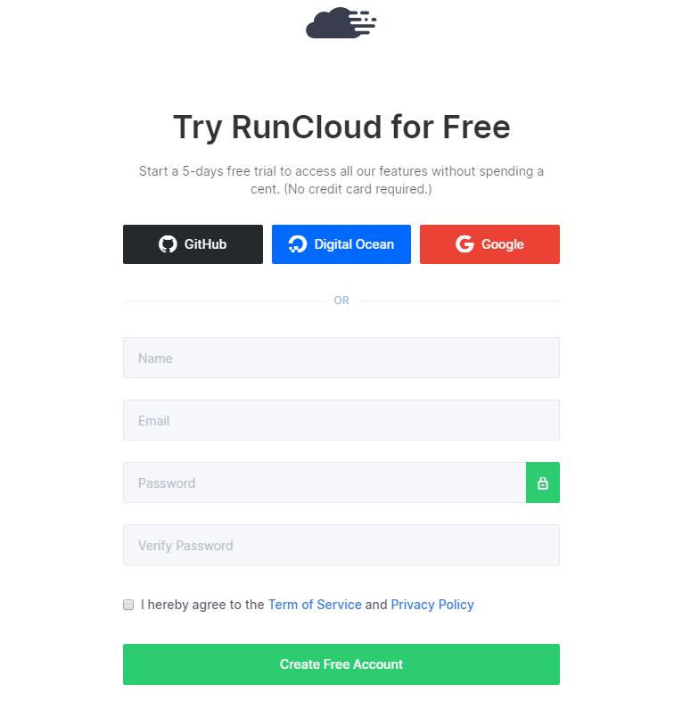 Runcloud kayıt olma