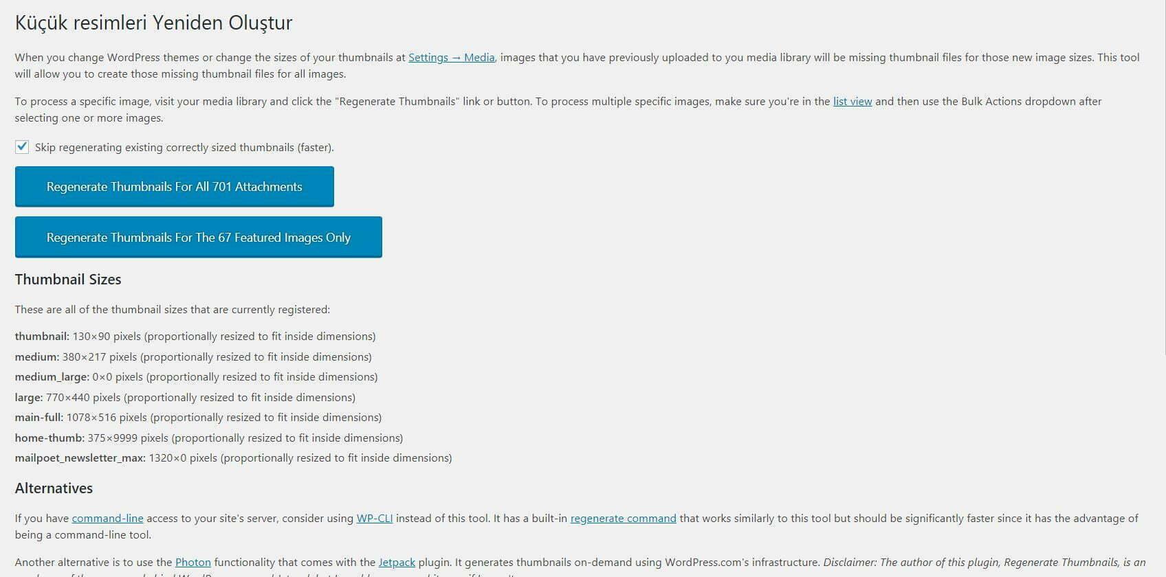 Regenerate thumbnails eklentisi nasıl kullanılır? Eklenti ayarları sayfası