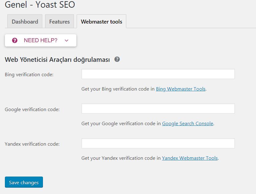 Yoast SEO Ayarları Genel Webmaster Tools