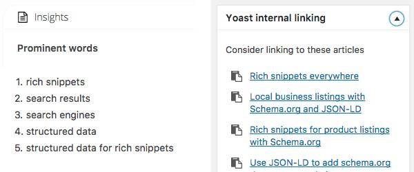 Yoast SEO premium yazı içeriğine göre anahtar kelimeye dayalı benzer yazı önerileri ve iç bağlantı özelliği