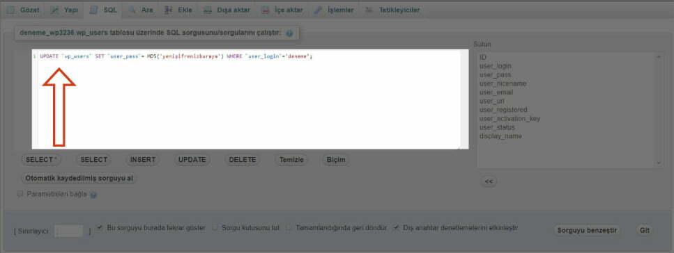 Wordpress phpMyAdmin ile şifre sıfırlama